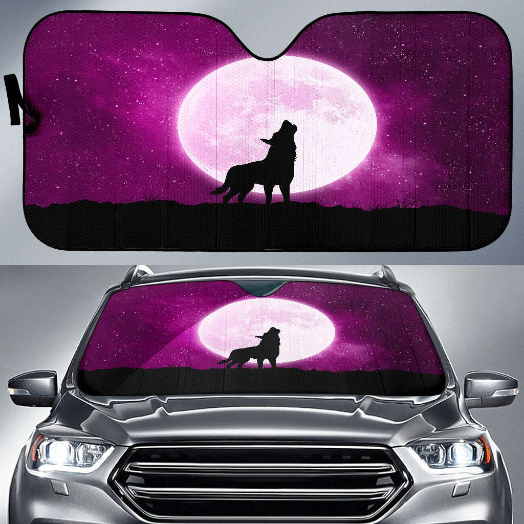 Wolf Howling At Moon Car Sun Shade Auto Sun Shade
