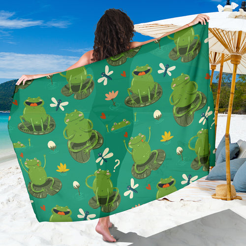 Cute Frog Dragonfly Design Pattern Sarong