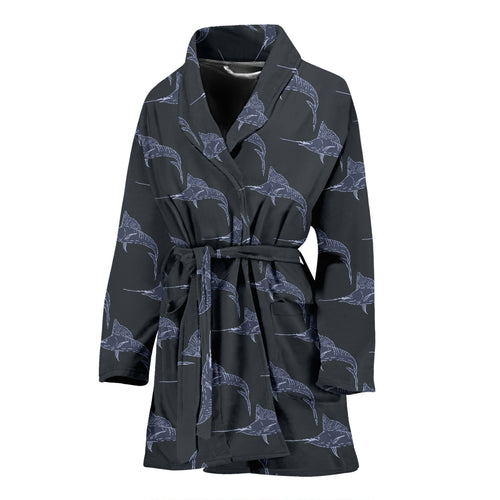Swordfish Pattern Print Design 03 Women's Bathrobe