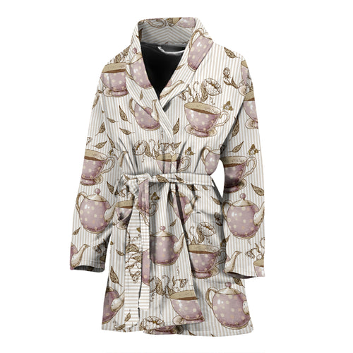 Tea Pots Pattern Print Design 03 Women's Bathrobe