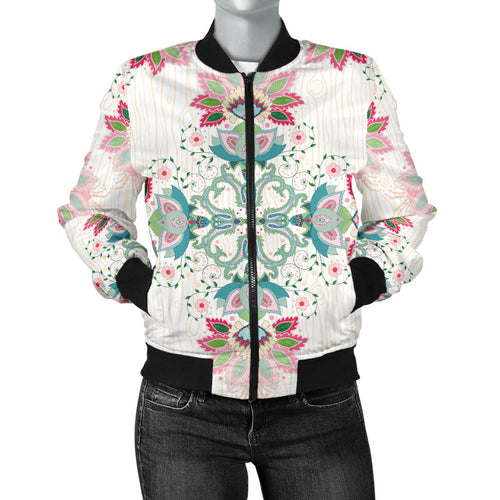 Square Floral Indian Flower Pattern Women'S Bomber Jacket