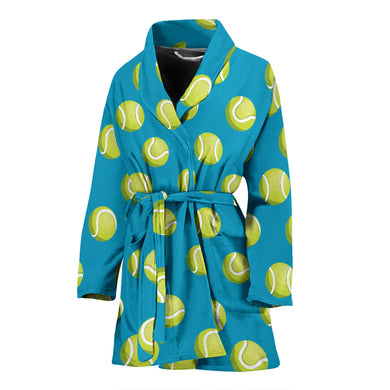 Tennis Pattern Print Design 05 Women's Bathrobe