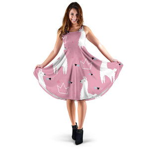 Llama Alpaca pink background Sleeveless Midi Dress