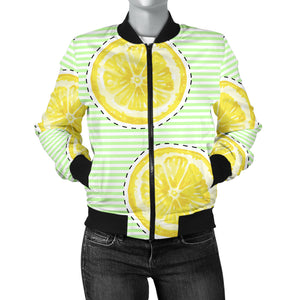 Slice Of Lemon Pattern Women'S Bomber Jacket