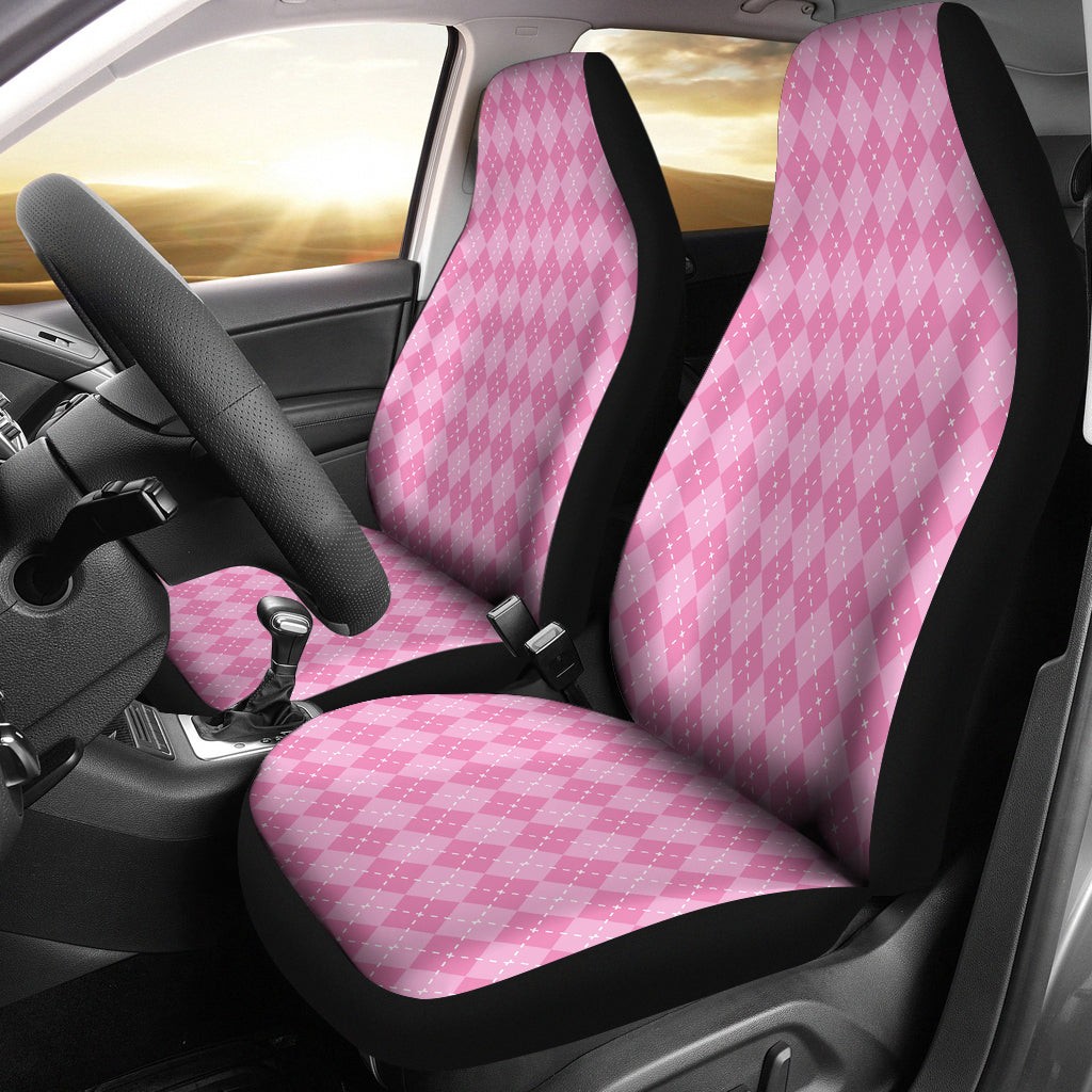 Pink Argyle Car Seat Covers
