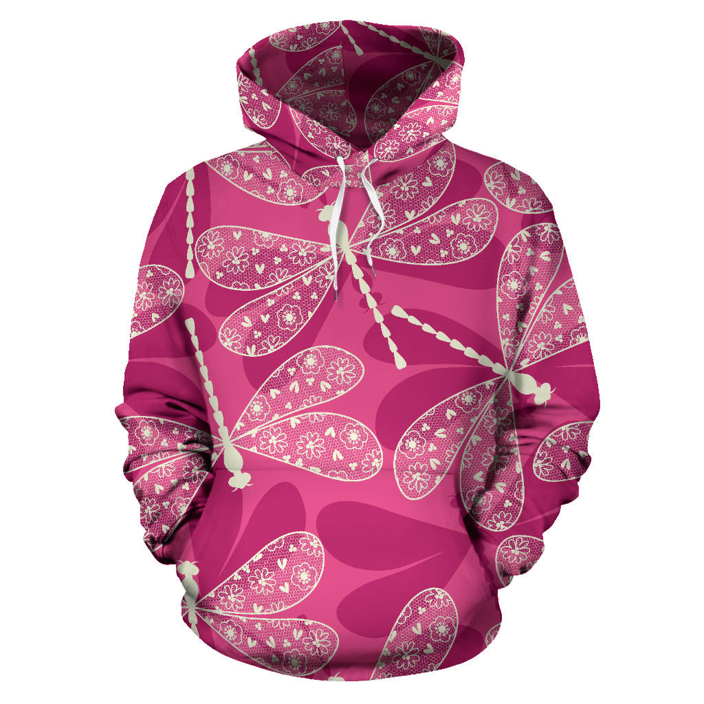 Beautiful dragonfly pink background Men Women Pullover Hoodie