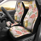 Pink Flamingo Birds Pineapples Hibiscus Flower Pattern Universal Fit Car Seat Covers
