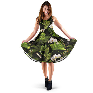 White orchid flower tropical leaves pattern blackground Sleeveless Midi Dress