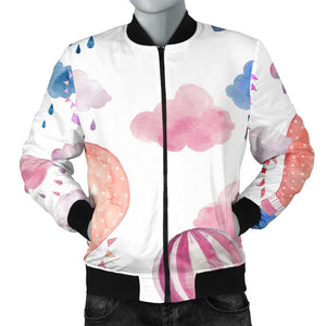 Watercolor air balloon cloud pattern Men's Bomber Jacket