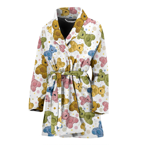 Teddy Bear Pattern Print Design 01 Women's Bathrobe