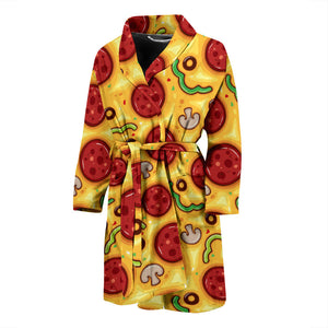 Pizza Texture Pattern Men'S Bathrobe