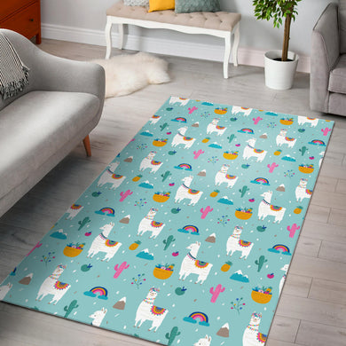Llama alpaca cactus leaves pattern Area Rug
