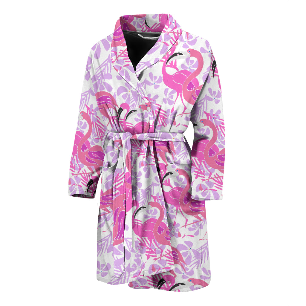 Pink Flamingo Flower Pattern Men'S Bathrobe
