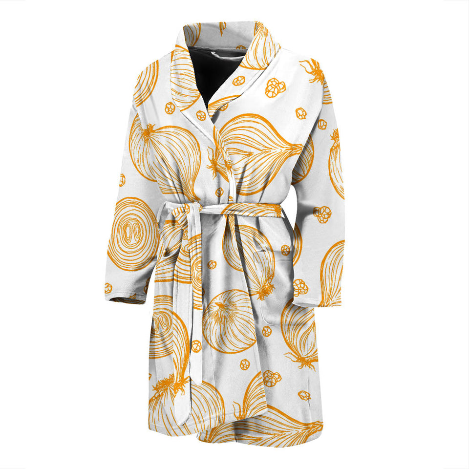 Hand Drawn Onion Pattern Men'S Bathrobe