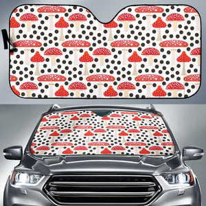 Red mushroom dot pattern Car Sun Shade