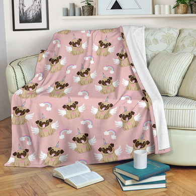 Cute unicorn pug pattern Premium Blanket