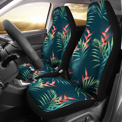 heliconia flowers, palm and monstera leaves on black background pattern Universal Fit Car Seat Covers