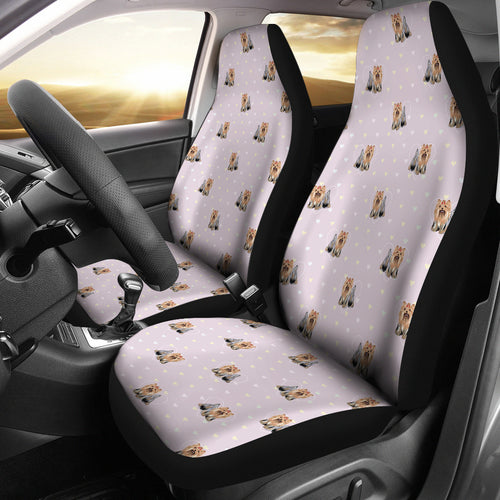 Yorkshire Terrier Pattern Print Design 02 Universal Fit Car Seat Covers