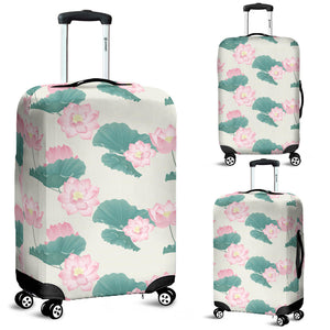 Pink Lotus Waterlily Leaves Pattern Luggage Covers