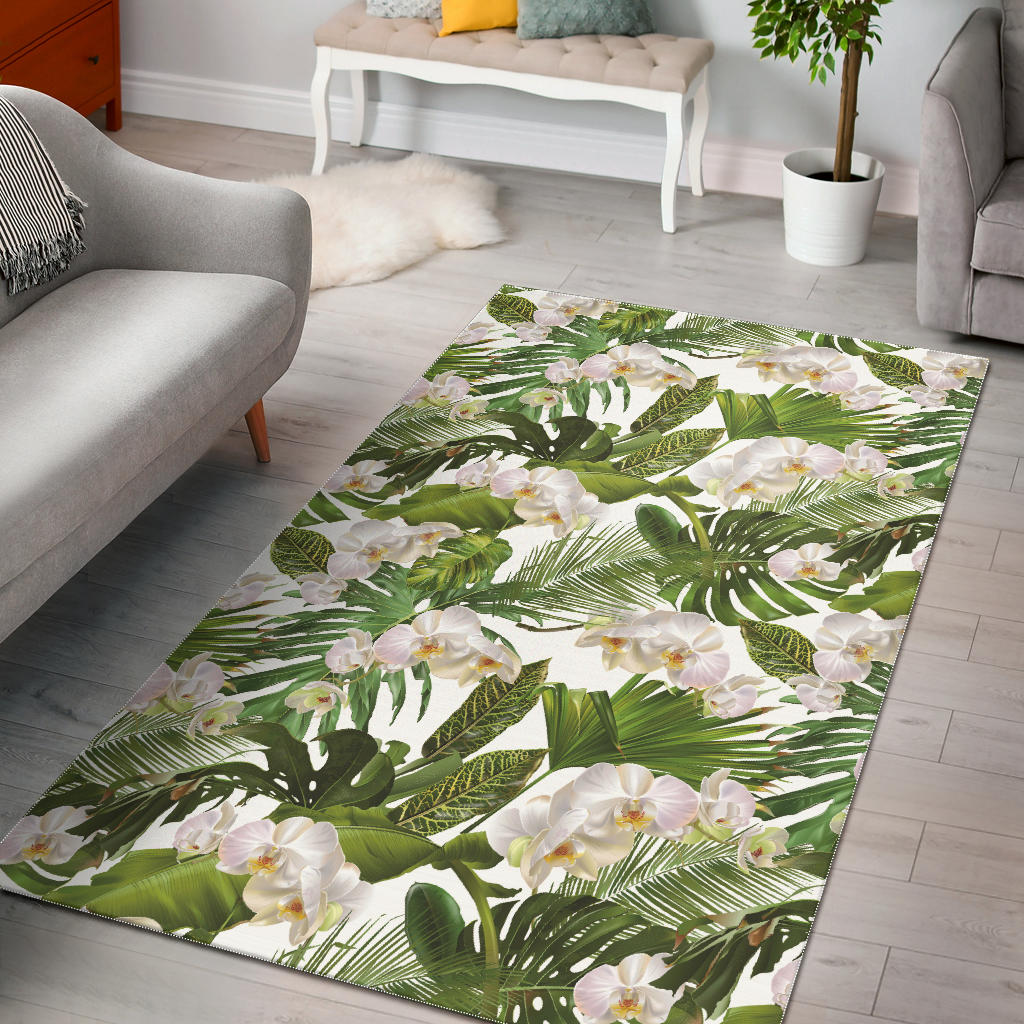 White Orchid Flower Tropical Leaves Pattern Area Rug