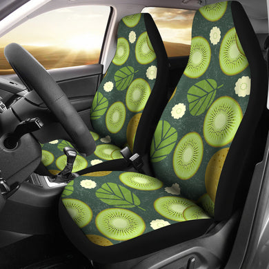 Whole sliced kiwi leave and flower Universal Fit Car Seat Covers