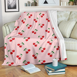 cherry pattern pink background Premium Blanket
