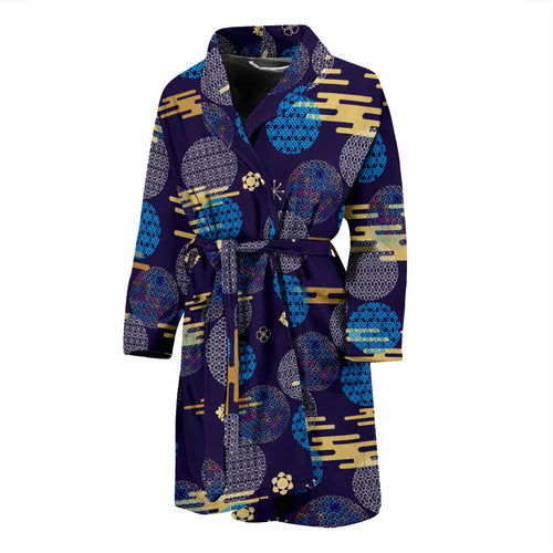 Blue japanese pattern cloud wave flower Men's Bathrobe