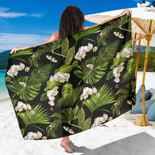 White orchid flower tropical leaves pattern blackground Sarong