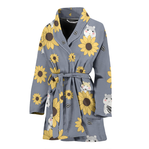 Cute hamster sunflower pattern background Women's Bathrobe