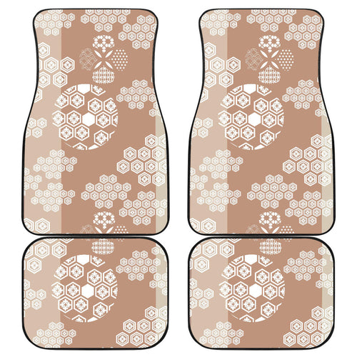 Beautiful hexagon japanese  pattern Front and Back Car Mats