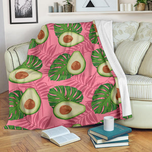 Avocado slices leaves pink back ground Premium Blanket