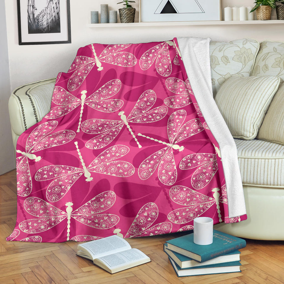 Beautiful Dragonfly Pink Background Premium Blanket