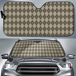 Chocolate Argyle Car Sun Shade Auto Sun Shade