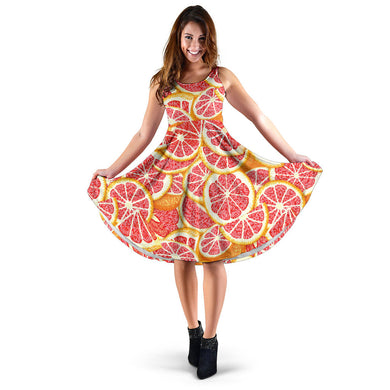 Tropical grapefruit pattern Sleeveless Midi Dress
