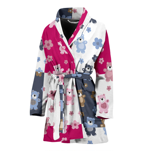 Teddy Bear Pattern Print Design 03 Women's Bathrobe