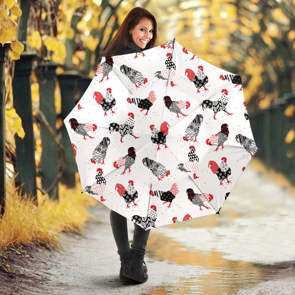 Cool Rooster Chicken Cock Floral Ornament Background Umbrella