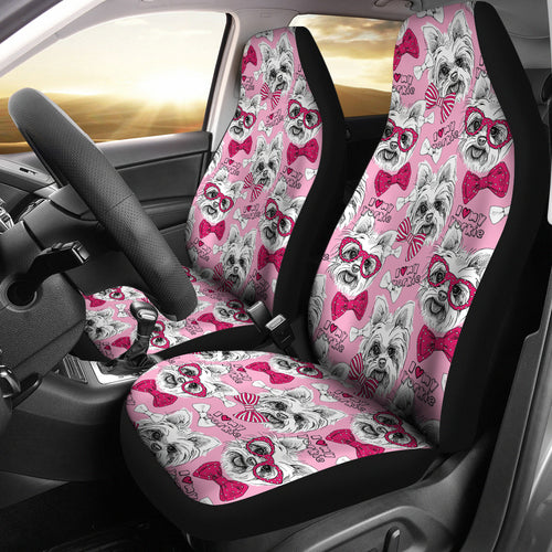 Yorkshire Terrier Pattern Print Design 03 Universal Fit Car Seat Covers