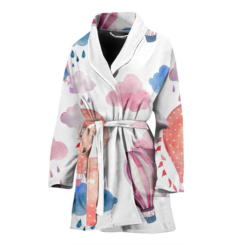 Watercolor air balloon cloud pattern Women's Bathrobe