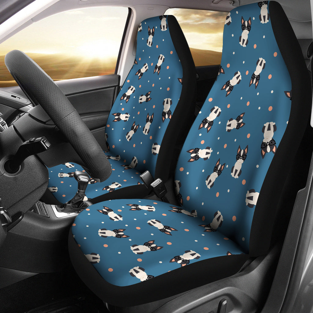 Cute Boston Terrier Dog Spattern  Universal Fit Car Seat Covers