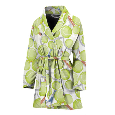 Tennis Pattern Print Design 01 Women's Bathrobe