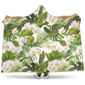 White Orchid Flower Tropical Leaves Pattern Hooded Blanket
