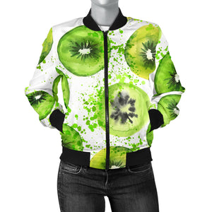 Watercolor Kiwi Pattern Women'S Bomber Jacket