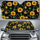 Sunflower Golden Polygonal Shapes Car Sun Shade