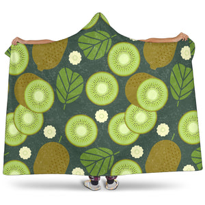Whole Sliced Kiwi Leave And Flower Hooded Blanket