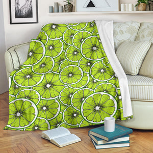 Slices of Lime design pattern Premium Blanket