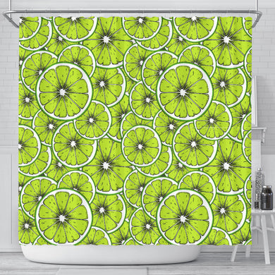 Slices Of Lime Design Pattern Shower Curtain Fulfilled In US