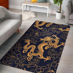 Gold dragon pattern Area Rug