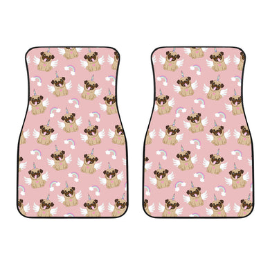 Cute Unicorn Pug Pattern Front Car Mats