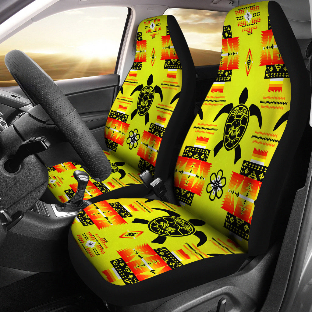 Turtle Yellow Orange Set Of 2 Car Seat Covers