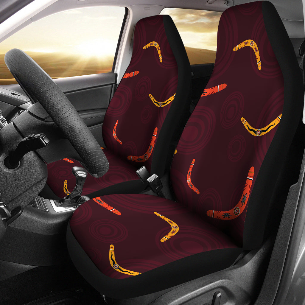 Boomerang Australian Aboriginal Ornament Circle Black Background Universal Fit Car Seat Covers